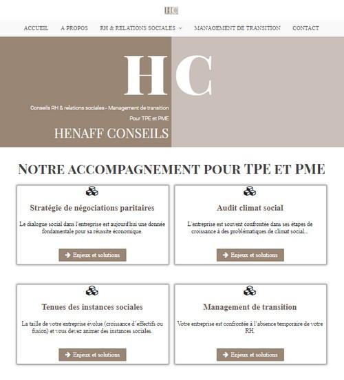 Site HENAFF CONSEILS RH pour TPE et PME