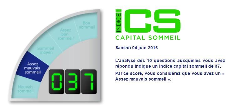 Indice Capital Sommeil (ICS) pour la mesure de qualité de sommeil